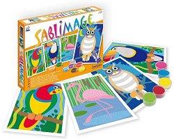 Оцветявай с цветен пясък - Птици - Творчески комплект за рисуване -