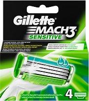 """Gillette Mach 3 Sensitive - Резервни ножчета в опаковка от 4 броя от серията """"Mach 3"""" - пяна"""