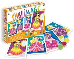 Оцветявай с цветен пясък - Принцеси - Творчески комплект за рисуване - творчески комплект
