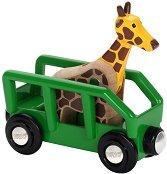 Вагон с жираф - Детски дървени играчки - играчка