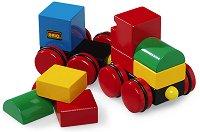 Влакче с магнитни части - Детска дървена играчка - играчка