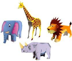Хартиен свят: Животните на Африка - 4 в 1 - Модели за сглобяване - играчка
