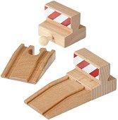 Рампи и стоп блокчета - Дървени играчки за разширение на релсов път - творчески комплект