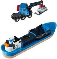 Товарен кораб и кран - Детски дървени играчки - продукт