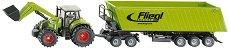 Трактор с челен товарач и ремарке - Claas Axion 850 -