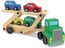 Автовоз - Детски комплект с 4 дървени колички -