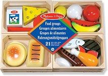 Фигури за игра - Разпознай храните - Комплект дървени играчки -