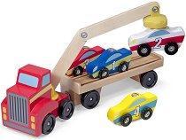 Репатриращ камион - Детски комплект с 4 дървени колички - играчка