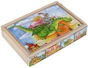 Приказен свят - 4 пъзела в дървена кутия -