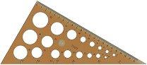 Правоъгълен триъгълник за чертане и окръжности - Дължина на на катета - 22 cm