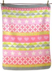 Бебешко одеяло - Сърчица и звездички: розов нюанс - продукт