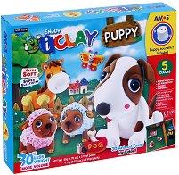 """Забавна глина за моделиране - Кученце - Творчески комплект от серията """"I Clay"""" -"""