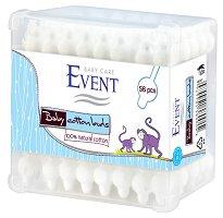 """Event Baby Cotton Buds - Бебешки клечки за уши с протектор от серията """"Baby"""" - крем"""