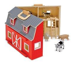 Ферма с 7 фигурки на животни - Детски комплект в куфарче -