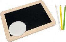 Черна дъска за писане с моливи - Дървена образователна играчка - хартиен модел