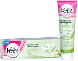 Veet Silk & Fresh - Депилиращ крем за крака и тяло за суха кожа с масло от ший и лилия -