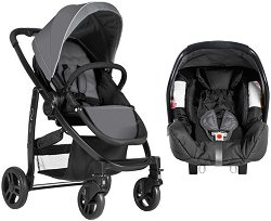 Бебешка количка 2 в 1 - Evo TS: Charcoal - С 4 колела -