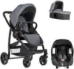 Бебешка количка 3 в 1 - Evo trio: Charcoal - С 4 колела -