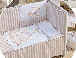 Обиколник за бебешко креватче - Две зайчета -