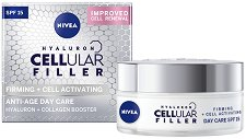 """Nivea Cellular Filler Firming + Cell Activating Anti-Age Day Care - SPF 15 - Дневен крем за лице против бръчки от серията """"Firming + Cell Activating"""" - продукт"""