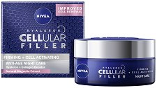 "Nivea Cellular Filler Firming + Cell Activating Anti-Age Night Care - Нощен крем за лице против бръчки от серията ""Firming + Cell Activating"" - душ гел"