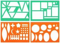 Шаблони - Геометични фигури - Комплект от 4 броя с флумастери и книжка за оцветяване