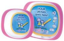 Розови купички за хранене с таен джоб за снимка - Комплект от 2 броя с 5 подложки за рисуване -