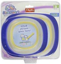 Тъмно сини купички за хранене с таен джоб за снимка - Комплект от 2 броя с 5 подложки за рисуване -