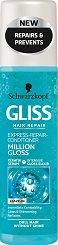 """Gliss Million Gloss Express Repair Conditioner - Спрей балсам за безжизнена коса без блясък от серията """"Million Gloss"""" - спирала"""