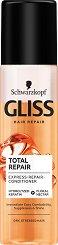 "Gliss Total Repair Express Repair Conditioner - Спрей балсам без отмиване за суха и изтощена коса от серията ""Total Repair"" - мляко за тяло"