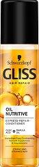 """Gliss Oil Nutritive Express Repair Conditioner - Спрей балсам без отмиване срещу цъфтящи краища от серията """"Oil Nutritive"""" - шампоан"""