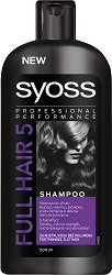 """Syoss Full Hair 5 Shampoo - Шампоан за плътност и обем на късаща се коса от серията """"Full Hair 5"""" - душ гел"""