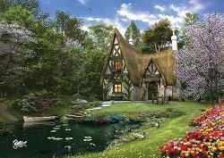 Дом край езерото през пролетта - пъзел