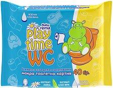 Бебешки мокри кърпички - Play Time WC - Опаковка от 40 броя - крем