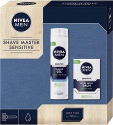 """Подаръчен комплект за мъже - Nivea Men Shave Master Sensitive - Гел за бръснене и балсам за след бръснене от серията """"Sensitive"""" - продукт"""