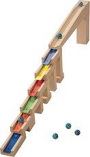 Сглобяема писта - Мелодични блокчета - Детска дървена играчка с топчета - играчка