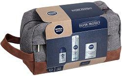 Подаръчен комплект за мъже с несесер - Nivea Men Silver Protect - Гел за бръснене, балсам за след бръснене и ролон - спирала