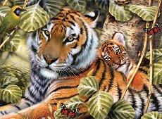 Рисуване по номера с акрилни бои - Тигър с малко тигърче