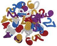 Цветни фигурки с брокат от EVA пяна - Цифри - Комплект от 50 броя