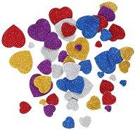 Цветни фигурки с брокат от EVA пяна - Сърца - Комплект от 50 броя