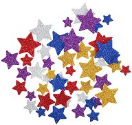 Цветни фигурки с брокат от EVA пяна - Звездички - Комплект от 50 броя