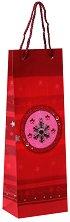 Подаръчна торбичка за бутилка - Снежинка на червен фон -