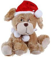 Кученце с коледна шапка и пелерина - Плюшена играчка - играчка