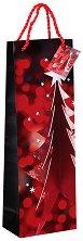 Подаръчна торбичка за бутилка - Коледна елха в червено -