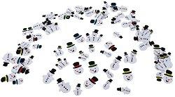 Блестящи стикери от EVA пяна - Снежни човеци - Комплект от 80 броя