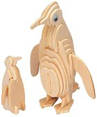 Пингвин с малкото си - 3D пъзел от дърво -
