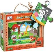Детски еко пъзел - Животните в джунглата - В кутия с дръжка и книжка на английски език - пъзел