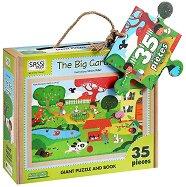Детски еко пъзел - Голяма градина - В кутия с дръжка и книжка на английски език - пъзел