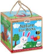 Еко кубчета за нареждане в пирамида - Природа - Комплект с книжка на английски език - играчка