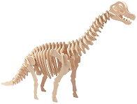 Динозавър - Брахиозавър - 3D пъзел от дърво + книжка с игри -